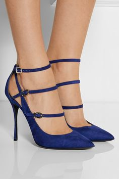 Heel measures approximately 105mm/ 4 inches Midnight-blue suede Buckle-fastening ankle strap Designer color: Midnight BlueSmall to size. See Size & Fit tab.