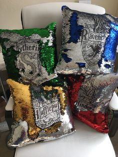 Harry Potter pillow - Mermaid pillow cover - hogwarts house crest - 16x16inch mermaid sequin pillow - insert included by CraftEncounters on Etsy https://www.etsy.com/listing/565152859/harry-potter-pillow-mermaid-pillow-cover