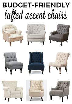 Get a list of affordable, budget-friendly, tufted accent chairs that will help make your space beautiful and cozy! Most have free shipping too!