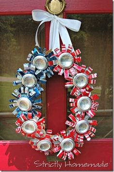 July 4th Wreath ~ Is it vintag-y upcyling or is it hillbillie decorating? I guess it depends on the house it's attached to.