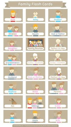 Free printable family flash cards. Download them in PDF format at http://flashcardfox.com/download/family-flash-cards/