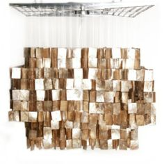 What do you think? Wanting a unique chandelier for my dining room! Gold Capiz Chandelier from Z Gallerie