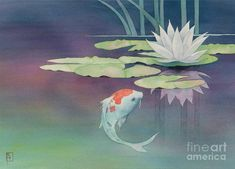 Lily And Koi Painting  - Lily And Koi Fine Art Print