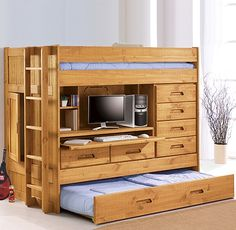 "Sophisticated ""box"" bunk/storage solution for a small room has bunk on top of desk/storage area with pull-out trundle bed at the bottom / squidoo.com"