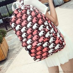 Lovely Cartoon Elephant Graffiti Canvas Backpack