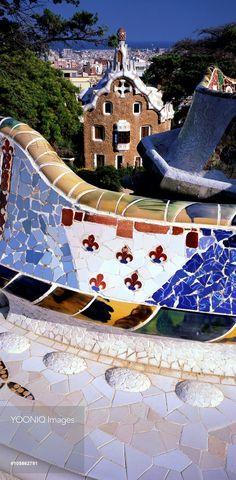 Colorful Trencadis in Parc Güell, Barcelona