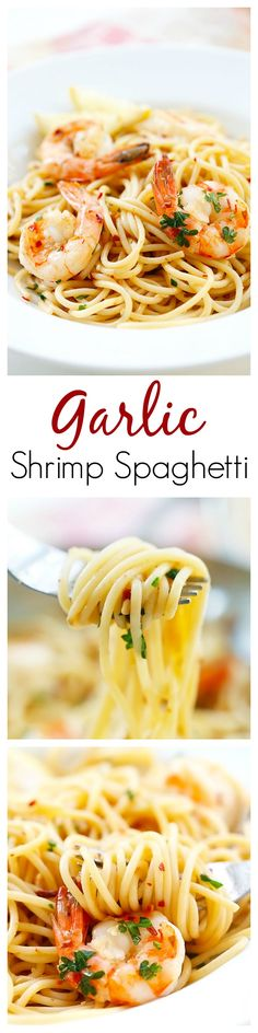 Garlic Shrimp Spaghetti – super easy and delicious spaghetti with garlic, olive oil, shrimp and red pepper flakes. Amazing dinner for the family- Being Italian, I love pasta dishes! (I will make it with veggie or whole wheat spaghetti). Fish Recipes, Seafood Recipes, Dinner Recipes, Cooking Recipes, Healthy Recipes, Pasta Recipes, Cooking Tips, Recipies, I Love Food
