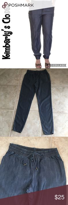 """INC Jogger Style Denim Pants INC super soft and lightweight denim jogger style pants.  Great for spring and summer!  Look amazing dressed up with stylish heels.  Drawstring elastic waist.  Inseam measures 29.5"""".  The most comfortable pants ever.  100% Tencel Lyocell.  Machine washable.  Gently used - very good condition. INC International Concepts Pants"""