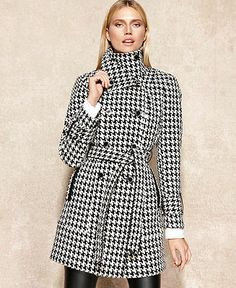 Calvin Klein Coat, Houndstooth Wool-Blend Trench - Coats - Women - Macy's