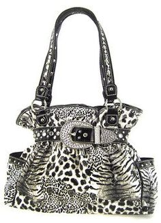 $42.99-$59.99 Handbags  Animal Print Belted Western Rhinestone Buckle Purse Leopard Zebra Cheetah Black - Size : 14.5w x 11h x 4d in.      The purse drop of the handle 11 in.      Material : PVC Laminated     Description:    * Zipper & Snap Closure    * Cellphone Pocket & Extra Pocket Inside    * One Zippered Pocket Inside    * Zipper Pocket on Rear    * Snap Pockets on Each Side    * Double Handles    * Buckle Rhines ...