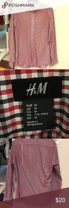 H&M Dress Shirt Plaid red, black, and white mens dress shirt! H&M Shirts Dress Shirts