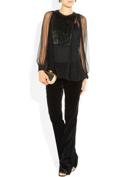 Totally wearable for the woman over 45! Gucci|Paillette-embellished tulle blouse|