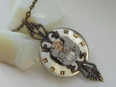 steampunk watch-face necklace