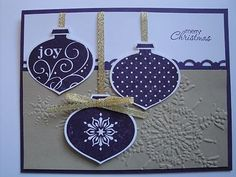 Eggplant Ornaments Christmas Card Kit 4 Cards Stampin Up Holiday | eBay