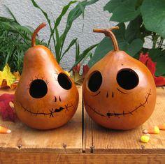 Gourd Halloween Jack-O-Lantern Jack Skellington and Sally PAIR Orange Carved Pumpkins (inspired by Tim Burton)