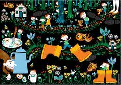 Een muursprookje is een supergrote poster met een klassiek sprookje, zoals deze van Klein Duimpje. Muursprookjes van Caroline Ellerbeck zijn kleurrijke, vrolijke prenten voor aan de wand.