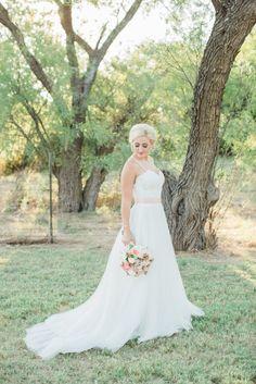 White wedding dress with pink sash belt
