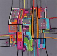 Victoria Potrovitza, Summer in the City, 2018, 16 x 16 in, hand embroidery, cotton threads on canvas