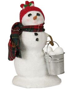 Byers' Choice Snowman with Bucket of Snowballs