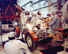 """HUMANOID HISTORY on Instagram: """"Apollo 17 astronauts check out the moon buggy, August 9, 1972.  #nasa #space #science #lrv #moon #apollo17 #lunarrover #rover #moonbuggy…"""""""