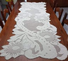Filet Crochet Charts, Crochet Doily Patterns, Crochet Doilies, Crochet Table Runner, Crochet Tablecloth, Fillet Crochet, Table Runners, Coasters, Tablecloths