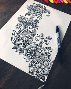 🖊 Just a lil doodle with my sharpie and artline fineliner 😊✨ - Art zentangle Hey guys! 🖊 Just a lil doodle with my sharpie and artline fineliner 😊✨ Doodle Art Drawing, Cool Art Drawings, Zentangle Drawings, Pencil Art Drawings, Art Drawings Sketches, Drawing Ideas, Doodles Zentangles, Flower Drawings, Drawing Drawing