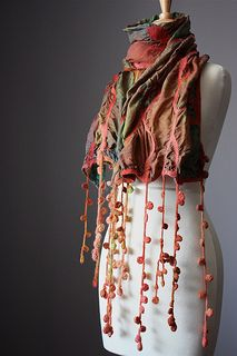 Nuno felted scarf shawl wrap silk wool crochet design rust moss green floral hand dyed painted