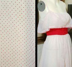 70s Dress White And Red Gauze Polka Dot Prairie Sleeveless Midi Dress Full Skirt BoHo Summer VLV Minimalist Hippie Valentine's Day Small by DateNiteDigs on Etsy