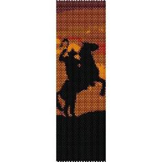 COWBOY ON HORSE IN SUNSET - LOOM beading pattern for cuff bracelet (buy any 2 patterns - get 3rd FREE)
