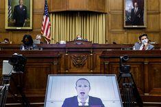 Mark Zuckerberg transmite testemunho em audiência ao congresso norte-americano (Foto: Getty Images)    Os quatros maiores nomes da indústria tecnológica - que juntos valem mais de US$ 5 trilhões - protagonizaram um momento histórico nesta quarta-feira (29): Jeff Bezos (Amazon), Mark Zuckerberg (Facebook), Tim Cook (Apple) e Sundar Pichai (Google/Alphabet) compareceram através de videoconferência à audiência de antitruste da C&ac