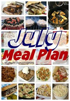 A month of weeknight meal ideas. Grilling recipes, Salads and lighter desserts for summer meals Meal Planning Board, Monthly Meal Planning, Light Desserts, Summer Desserts, Fun Easy Recipes, Summer Recipes, Vegetable Soup Crock Pot, Asian Chopped Salad, Rotisserie Chicken Salad