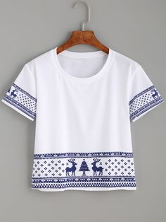 White Elk Print Crop T-shirt