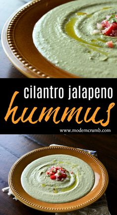 Hummus is the perfect snack. This cilantro jalapeño hummus is seasoned perfectly and has a smooth consistency. It's delicious, quick and easy! Cilantro Hummus, Hummus And Pita, Pita Jungle Hummus Recipe, Appetizer Dips, Appetizer Recipes, Snack Recipes, All You Need Is, Feta, Vegan Recipes