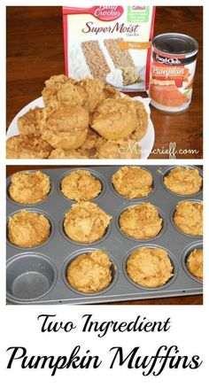 Two Ingredient Pumpkin muffins. A box of cake mix, a can of pumpkin puree and th… Two Ingredient Pumpkin muffins. A box of cake mix, a can of pumpkin puree and thirty minutes and you will have a dozen delicious pumpkin muffins! Köstliche Desserts, Delicious Desserts, Dessert Recipes, Recipes Dinner, Dessert Food, Health Desserts, Plated Desserts, Muffins Weight Watchers, Aldi Weight Watchers