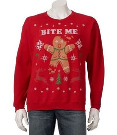 """""""Bite Me"""" Red Ugly Christmas Sweatshirt Sweater S Small Gingerbread Man NWT #small #gingerbread #sweater #sweatshirt #ugly #christmas #bite"""