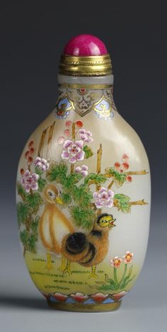 Chinese Glass Enamel Snuff Bottle Decorated with Ducks and Flowers