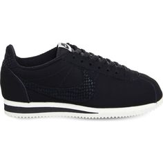 Nike Classic Cortez OG suede trainers featuring polyvore women's fashion shoes sneakers black suede shoes suede shoes nike nike sneakers snake sneakers