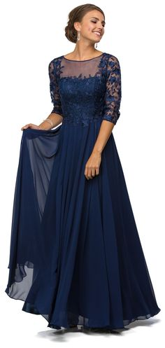 Simply Elegant Long Modest Mother of the Bride Dress Formal