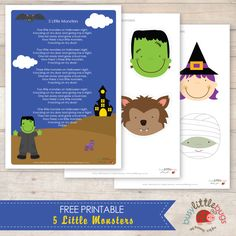 Busy Little Bugs - Free 5 Little Monsters finger puppets