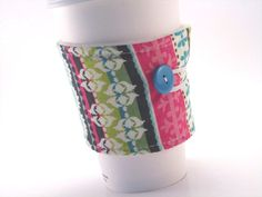 Coffee Sleeve Cozy Funky Fabric for Women Girls Gals in Pink and Green by bamcraftymommas