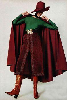 L'officiel 1970s ethnic velvet cape