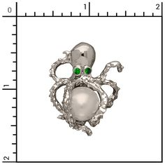 Nautical Jewelry - Sterling Silver Octopus/Pearl, Sea Life, 6-145PS