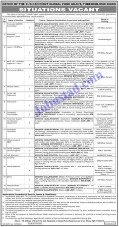 Govt of Sindh Provincial TB Control Program Jobs 2021 has been announced through the advertisement by Office of the Sub Recipient of Global Fund Grant Tuberculosis Sindh and applications from the suitable persons are invited on the prescribed application form. In these Latest Government Jobs in Sindh the eligible Male/Female candidates from across the country can apply through the procedure defined by the organization and can get these Jobs in Pakistan 2021