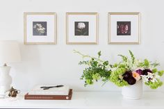 The perfect look for over a large furniture piece: three Instagram Minis and an Ikebana style arrangement.