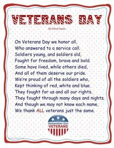 Veteran's Day Poem for Preschool