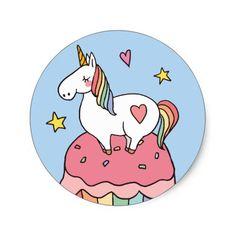 Cute Rainbow Unicorn on Birthday Cupcake Classic Round Sticker