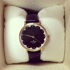 black kate spade watch with gold hardware