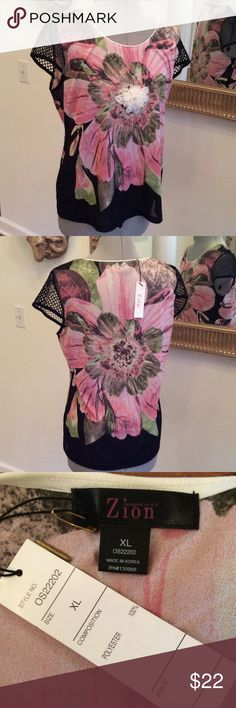 Zion fun Floral top, cool short sleeves, new, raised flower front, by H.K. Zion, size XL H.K. Zion Tops Blouses