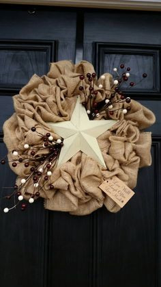 Everyday burlap star wreath. Use on your front door or inside your home. This wreath has a rustic feel to it and adds charm to your everyday decor,