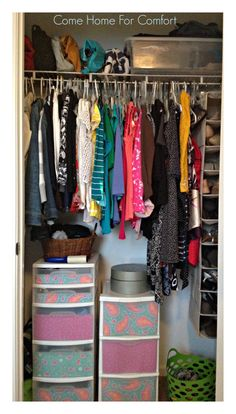 How to organize a tiny closet on a budget! Organizing: One Room At A Time {Bedroom} | Come Home For Comfort comehomeforcomfort.wordpress.com